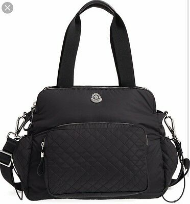 Moncler Mommy Bag Baby Diaper Tote Black Quilted Satchel Crossbody