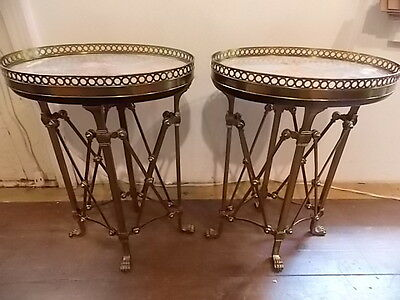 PAIR FRENCH EMPIRE BRASS MARBLE SMALL TABLES Lot 54