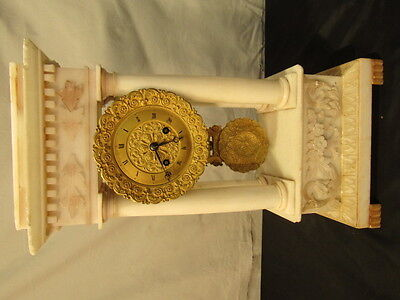 ANTIQUE FRENCH EMPIRE ALABASTER CLOCK Lot 58
