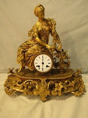 FRENCH GILT FIGURAL CLOCK BY MOUREY Lot 59