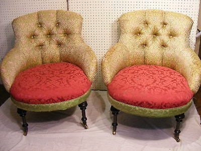 PAIR VICTORIAN EASY CHAIRS Lot 321