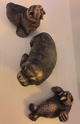 Set Of THREE (3) Adorable Detailed WALRUS Resin Figurines / Figures