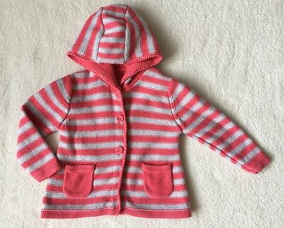 ***M&S baby girl Pink Striped hooded cotton cardigan 12-18 months EXCELLENT!!***