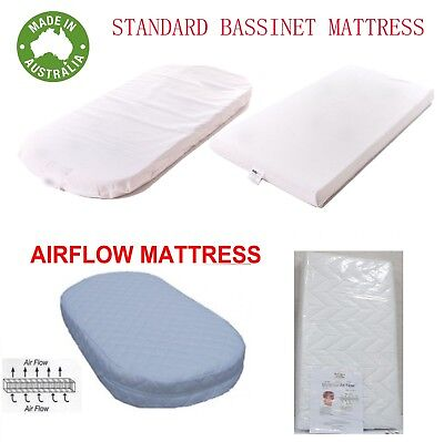 Bassinet Mattress Cradle Mat Pad Airflow Australia Made Rectangle Round ALL SIZE