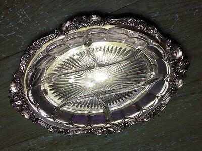 Wallace  Baroque Relish Tray with Glass Insert In Excellent Condition