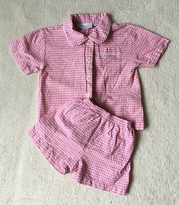 ***The little white company baby girls Checked pyjamas 12-18 months VGC***