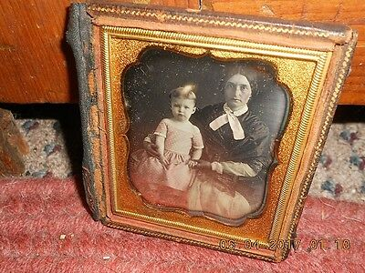 Mid 19Th Century Daguerreotype Of Mother And Child Very Clear Great Clothes