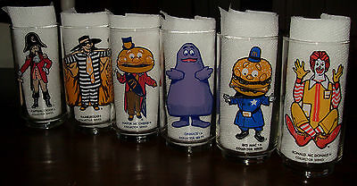 1970s Set Of 6 McDonald's Action Series Character Collector Series Glasses