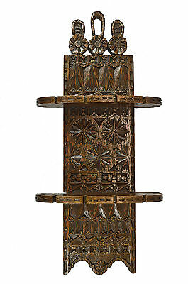 Antique Frisian Chip Carved 2 Tiered Oak Tea Spoon Rack, Dutch.