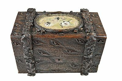Antique Black Forest Walnut Hand Carved Document Box, German.