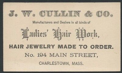 1870s Victorian Business Card for Ladies Hair Work and Hair Jewelry