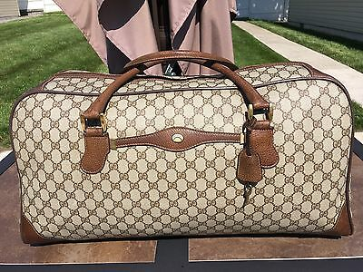 Authentic Vintage GUCCI Duffle Travel Gym Bag Suitcase Carry On Luggage