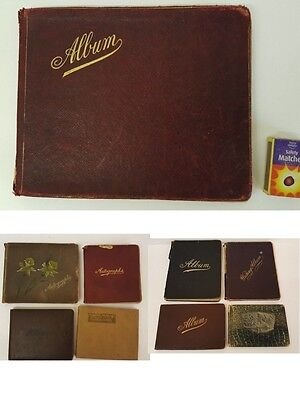 Four  Vintage Autograph Sketch Book Albums With Pictures & Annotations