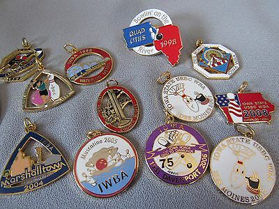 Bowling Bonanza Iwba/ Wba State Pendants And Bowling Push Pins And Pin Backs