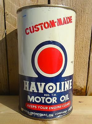 VINTAGE 1950's HAVOLINE MOTOR OIL IMPERIAL QUART TIN CAN - McCOLL-FRONTENAC OIL