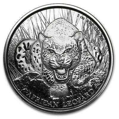 2017 Republic Of Ghana African Leopard 1 oz .999 Silver Round BU Capsuled Coin