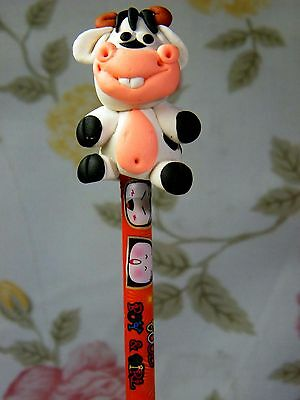 Polymer Clay Lovely Buffalo Figurine Act On Top Of Wooden Pencil No.02