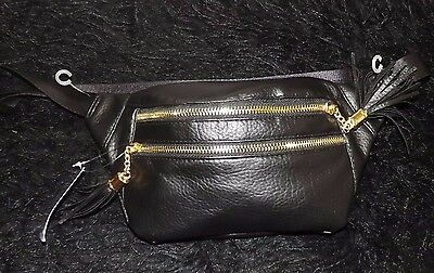Fanny pack Hip sack black Leather Like purse travel vacation waist pack