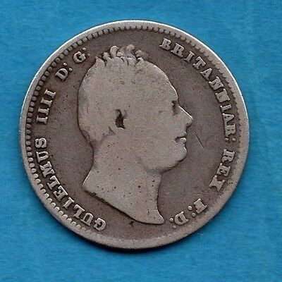 1836 Silver Shilling Coin. King William Iv.  1/-