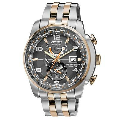 New Citizen Eco-Drive AT9016-56H World Time Atomic Radio Controlled Men's Watch