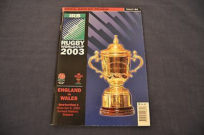 2003 Rugby World Cup Programme England v Wales Exc. Cond