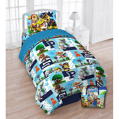 5pc PAW PATROL Pups Twin/Single COMFORTER+SHEETS SET Bed in a Bag Chase+Marshall
