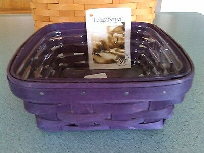 Longaberger Small Berry basket in Purple stain with protector NEW
