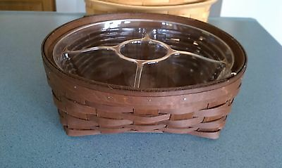 Longaberger 2015 large Catch All Basket with divided protector Rich Brown NEW