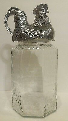 Arthur Court Clear Glass Canister With Rooster Lid - 2002 - 15""