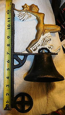 Vintage antique Cast Iron Cherub,Angel Hanging Wall Bell,naked lady risque,star