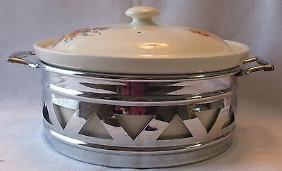 Vintage Coors Thermo Covered Porcelain Casserole Dish with Metal Holder