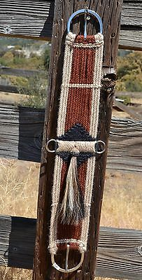 100% Mohair Vaquero Style Girth/Cinch w/Shu-Fly -Natural/Rusty Brown/Black - 30""