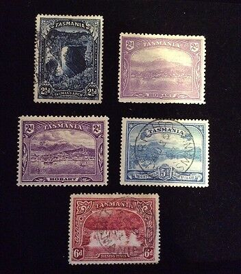 Set Of 5 Tasmanian Stamps Rare And Collectable 2 1/2 D 2 D 5 D 6 D With Postmark