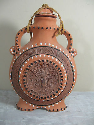 Red Clay Pottery Terracotta Canteen Flask Bottle - Stefan Cel Mare- MOLDOVA - 9""