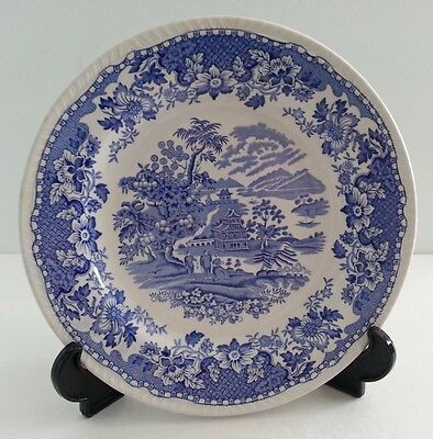 Vintage Woods Burslem of England Blue Transferware Seaforth Blue Dinner Plate