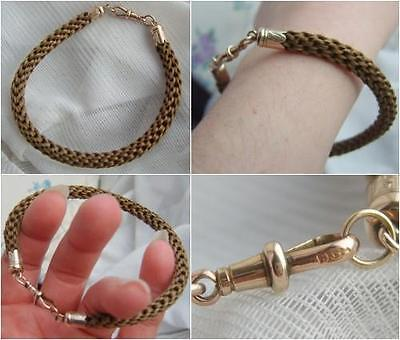 Antique VICTORIAN Woven MOURNING Hair Bracelet with 9ct GOLD Finials & Dog Clip