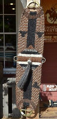 100% Mane Horsehair Vaquero Girth/Cinch with Shu-Fly -Chestnut/White/Black- 32""
