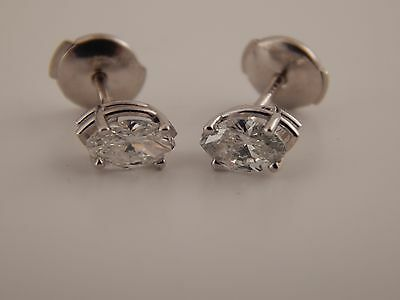 NEW .75 tcw Natural Marquise Diamond Stud Earrings RARE Clarity VVS2 Color F 14k