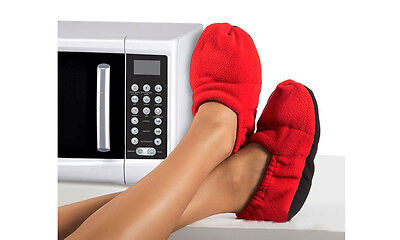 Hot and Cold Microwaveable Slippers. Soothing, warm. Machine washable. GREY/RED