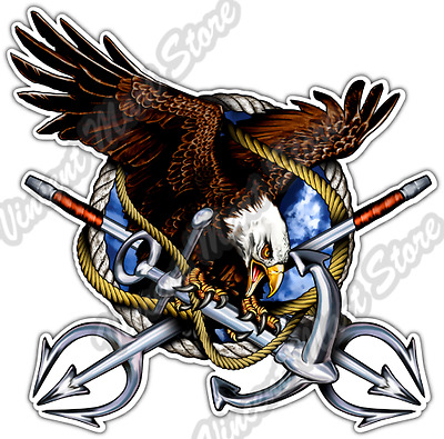 """Navy Anchor Crest US Flag Army Marines Wings Car Bumper Vinyl Sticker Decal 4.6/"""""""