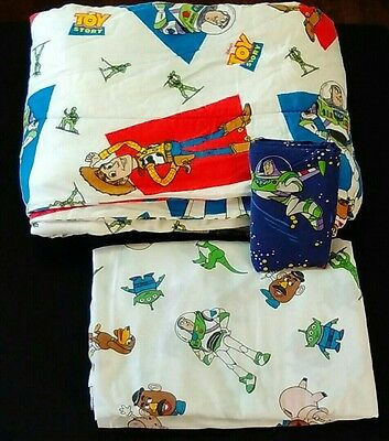 DISNEY Toy Story Flannel Comforter Fitted Sheet Woody Buzz Lightyear Twin VTG