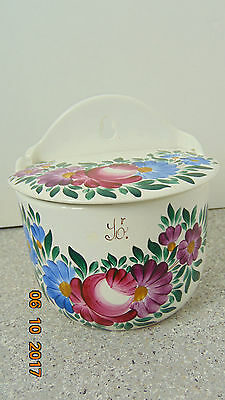 Vintage Ceramic Salt Box,ceramic Top, Wall-Mount, Hand-Painted Made in Hungary