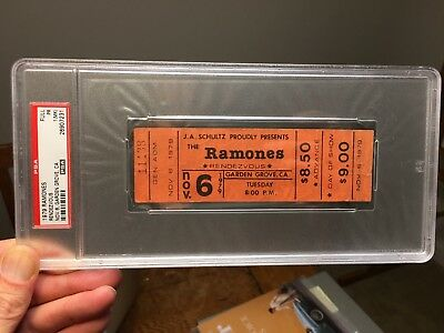 1979 Ramones Full Concert Ticket Rendezvous California PSA Punk Rock