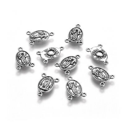20PC Tibetan Alloy Rosary Center Tri-Pieces Oval Antique Silver Nickel Free 18mm