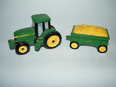 John Deere Salt & Pepper Shakers Tractor & Wagon  Ceramic Enesco