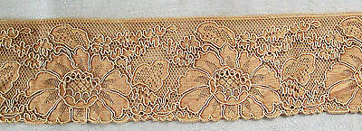 Pretty Vintage Cotton Fabric Lace  Floral Leaf Design French