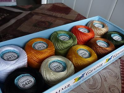 10 Yarn Skeins Assorted Colors Huge Lot Mixed Mercerized Cotton Free Shipping US
