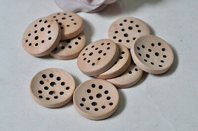 20pcs Unpainted Wooden Buttons Handmade Craft Natural Wood Sewing Accessory Punk