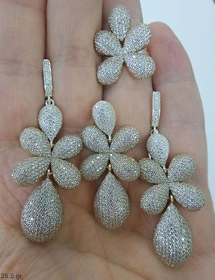 Sterling 925 Silver Handmade Jewelry Sublime Brazil Micro-Pave White Topaz Sets