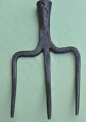 Antique 3 Tine Hand Forged Wrought Iron Fork Head Primitive Old Farm Garden Tool